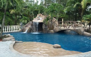 stone cave and pool, custom waterslide