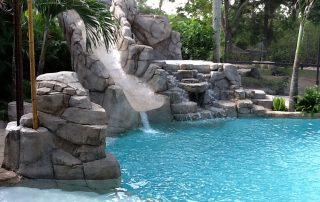 Custom concrete caves, waterslides and pools